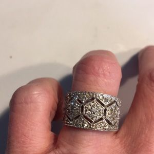 Sterling silver and cz wide band